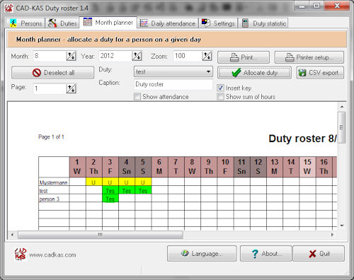 Create a duty roster for your staff. You first create a list of your staff.