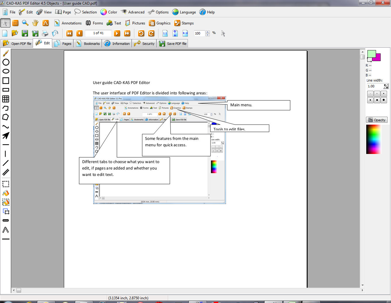 CAD KAS PDF Editor Screen shot
