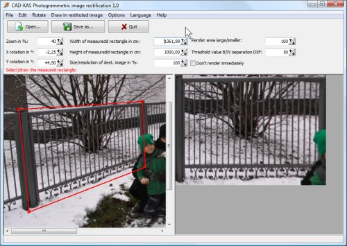 Photogrammetric image rectification Screen shot