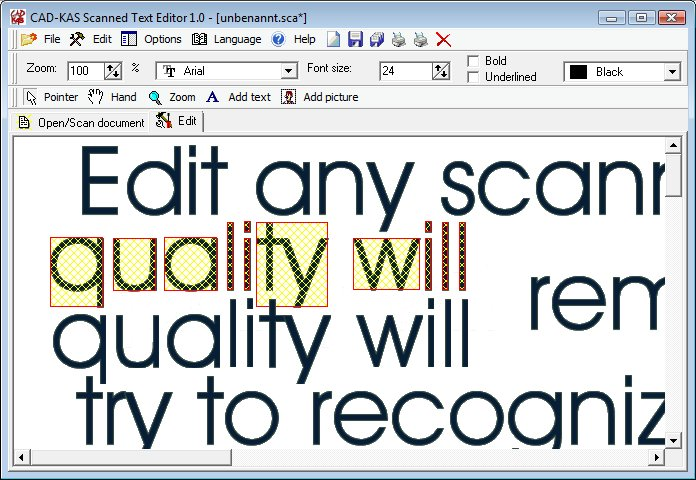 scanned document editor Scanned Text Editor