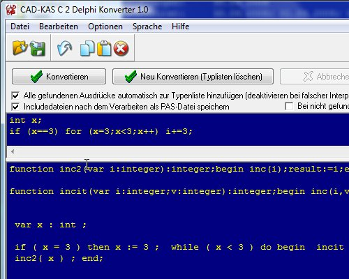 Screenshot vom Programm: C 2 Delphi Konverter