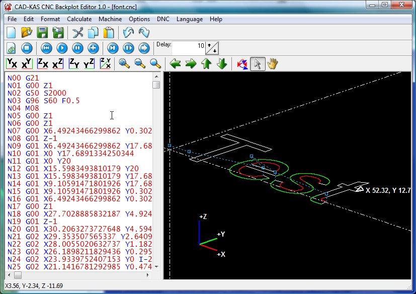 Screenshot vom Programm: CNC Backplot Editor