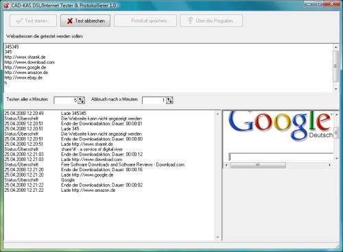 Screenshot vom Programm: DSL/Internet Tester & Protokollierer