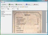 Screenshot vom Programm: Speisekarten Drucker