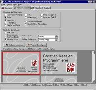 Screenshot vom Programm: Visitenkarten-Designer